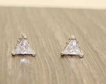 Triangle Nature zircon stud earrings,Wire Wrapped,white gold filled brass wire,Wedding Bridal, Bridesmaid,Jewelry,gift, under25