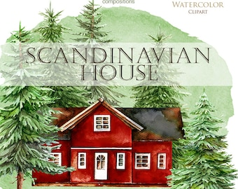 Scandinavian House Watercolor, Sweden, cabin, Swedish wooden cottage, countryside, green pines, spruce, greeting card, stickers clipart