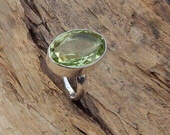 Oval Cut Green Amethyst Gemstone 925 Sterling Silver Ring ,  Handmade Artisan Ring Jewelry,  Birthstone Prasiolite Gems Ring