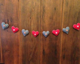 Handmade felt Love Heart garland with button detail - Red/Grey