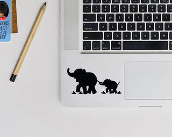 Elephant Mom And Baby Trackpad Keyboard Macbook Vinyl Decal / Sticker