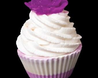 Rose cupcake soap Purple
