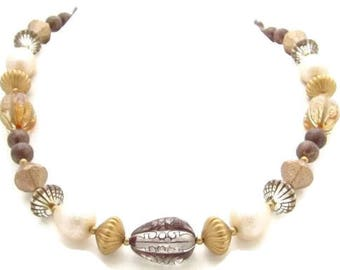 Unique Vintage Brown,White Gold Tn Plastic & Glass Beaded Necklace*Jewelry*Y251