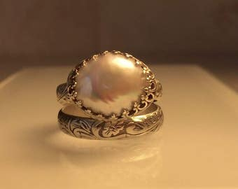 Handmade Silver Ring Set./Handmade Solid Sterling Silver and Pearl Stacking Ring Set./Free Shipping in the US.