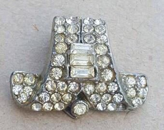 Vintage Art Deco 1930s White Baguette Cut Diamante Paste Dress Clip.