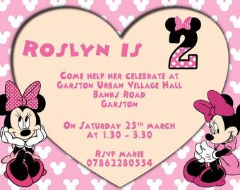 Minnie Mouse girls birthday invitation, Pink Minnie Party Invite, Girls Birthday party invites, New Baby, Baby Shower invites
