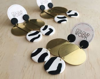 Big Brass Earrings with a Black & White Polymer Clay Pattern
