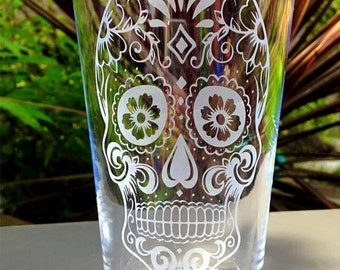 Engraved Pint Glass with Sugar/Candy Skull Design