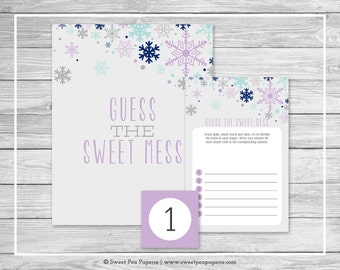 Winter Baby Shower Guess The Mess Game - Printable Baby Shower Guess Sweet Mess Game - Baby It's Cold Outside Baby Shower - SP143