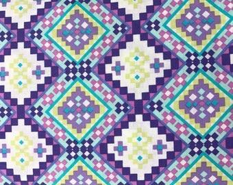 Purple patterned aztec curtain valance