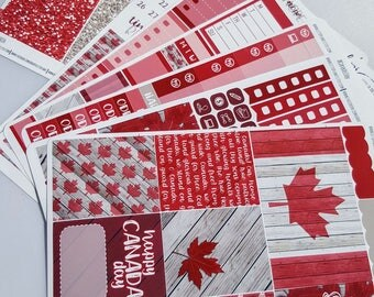 O Canada | Canada Day | Vertical weekly kit | Planner Stickers (#WS-CD)