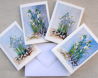 Snowdrops, four mini cards ,gift cards, thank-you cards,note cards, with envelopes.