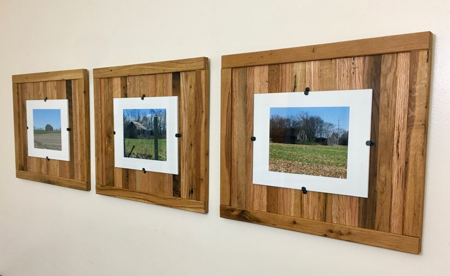 rustic wood frames reclaimed wood frame set of 3 8 x 10 picture frame with mat 11 x 14 picture frame without mat free shipping - Wood Picture Frame Set