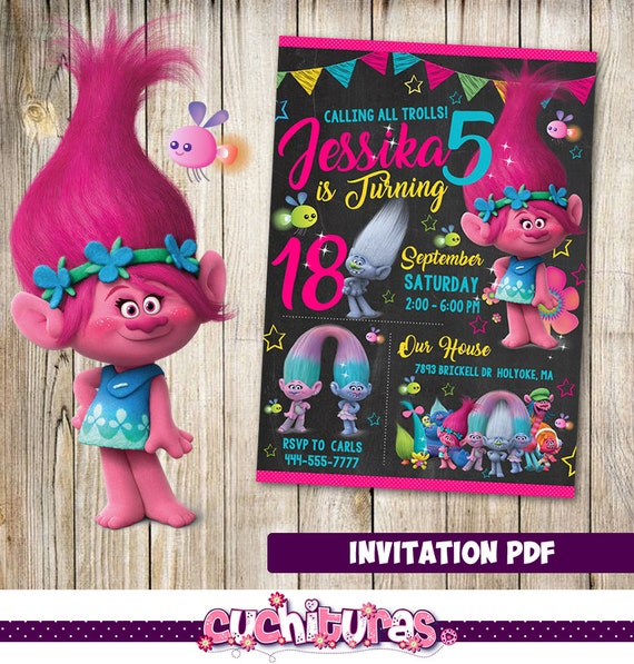 Trolls Party Birthday Invitation