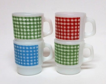 Vintage Set of 4 Fire King Stackable Mugs Red Green Blue Plaid Gingham