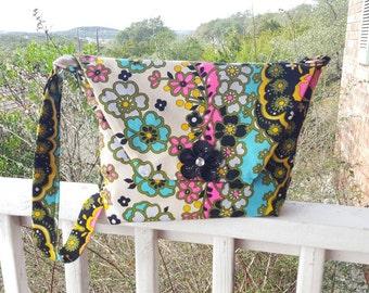 Gypsy Flower Shoulder Tote, Boho Bag, Floral Tote, Vintage Fabric Tote