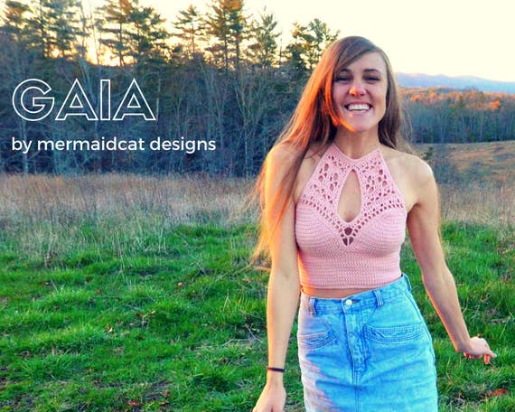 Crochet crop top halter pattern with keyhole cutout -Gaia