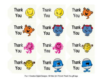 Mr Men and Little Miss Thank You Tags