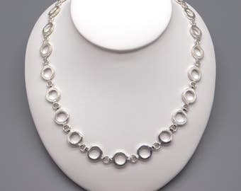"""Handmade Sterling Silver Circle Link Chain Adjustable Necklace 16 """" 17.5"""""""