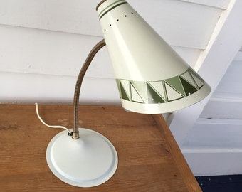 Mid Century Desk Lamp in White with Geometric Pattern