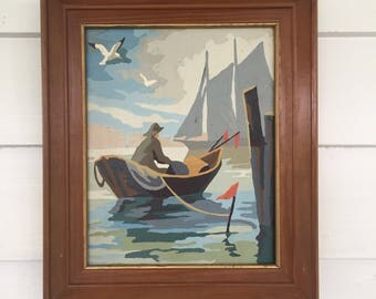 1960's Paint by Numbers Old Man and the Sea Painting in Wooden Frame