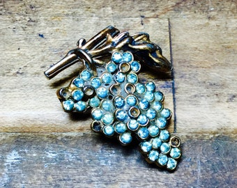 Miniature Grape Vine Brooch With Aqua Gems