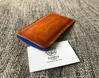 iPhone 6 6s 7 leather sleeve, leather pouch 'OldTan'