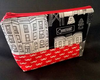 READY TO SHIP | Zippered Makeup Pouch | Mustaches, Cityscape, Swiss Cross