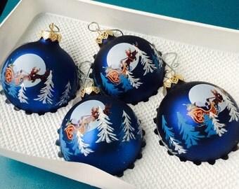 Santa Sleigh Blue Ornaments, Vintage Designer Ornaments