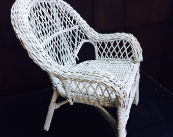 White Wicker Chair Doll Chair, Doll Furniture, Stuffed Animal Chair