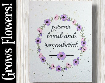 """GROWS WILDFLOWERS! - """"forever loved and remembered"""" - Plant the Card - 100% recycled - #GW005"""