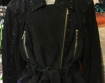 1980' studded black suede leather jacket. Size M/L.