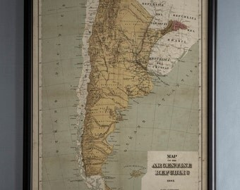 Argentina Map: Vintage map of Argentina - Argentine Republic - Circa 19th C. - Weathered Map
