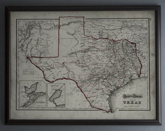 Texas Map : Vintage Map of Texas - 19th C. - Weathered Map