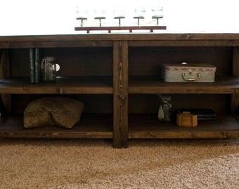 Farmhouse Entertainment Center - Open Shelving - Rustic TV Stand