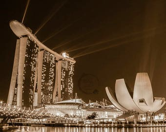 Singapore Print Digital Download City Photography Print Marina Bay Sands Fine Art Photography Instant Download Sepia Wall Decor Canvas Art