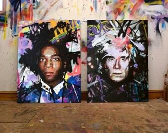"Jean-Michel Basquiat & Andy Warhol, Original Painting, 40"" (x2), Portrait, Pop Art, Graffiti, Street Art, New York, Richard Day"