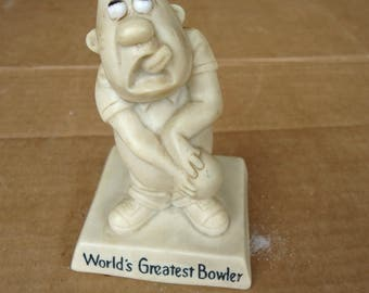 bowling man figuring vintage knick knack,world greatest bowler,russ berrie 1968,decor gift souvenir