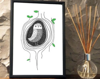 Quirky Owl in a tree Print from an original art Illustration ART003P