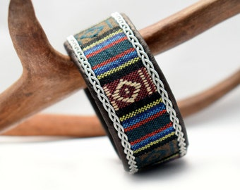 Swedish Sami Bracelet of pewter thread with 4 % silver, and reindeer leather - Ethnic cord