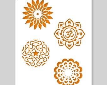 Mandala, 4 Mandala's Stencil A3 42 x 29,7 cm // 16,5 x 11,7 inch
