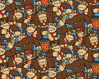 Nintendo Nintendo Donkey Kong Allover Fabric - Blue (sold by the 1/2 yard)