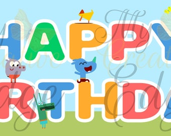 Hey Duggee Happy Birthday Banner - Instant Download