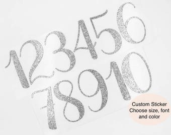 Customizable Glitter Number Stickers | Silver Glitter Number Stickers | Silver Glitter Wedding Table Numbers