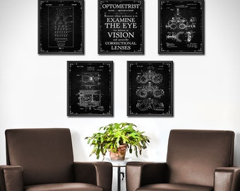 Optometrist Gift - SET OF 5 - Optometry Gift - Optometry Art - Eye Chart Art - Eye Doctor Gift - Optician Gifts Decor - Wall Art - 1861