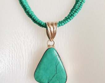 Turquoise Necklace, Pendant Necklace,  Sterling silver Necklace, Turquoise Pendant,
