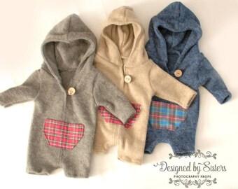 Boy's long sleeve newborn hoodie, grey, navy, beige hooded romper, newborn photo prop, sitter photo prop, long sleeve hoodie photo prop