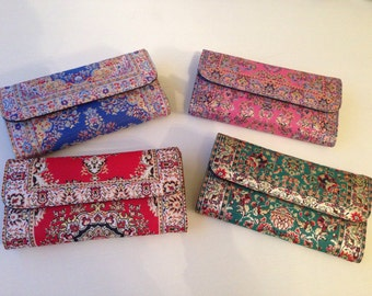 Traditional Turkish Tapestry zippered wallet  - Turkish woven wallet