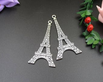 2PCS 70x36mm, Large Silver Eiffel Tower Charms,2 Sided-p1221