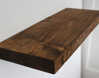 Handcrafted rustic reclaimed chunky wooden floating shelf / shelves 9 x 2 inch or 230mm x 47mm.